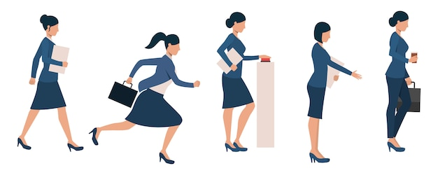 Set of female entrepreneurs busy with different activities Free Vector
