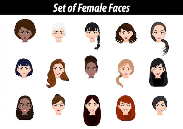 Set of female face avatar portraits isolated. international women people heads flat vector illustration. Premium Vector
