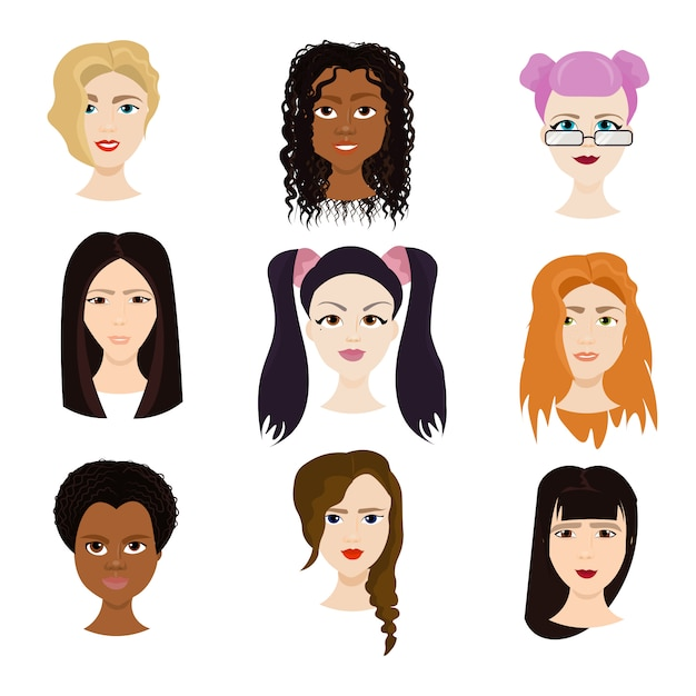 Set of female faces isolated, diverse women with different haircuts portraits Premium Vector