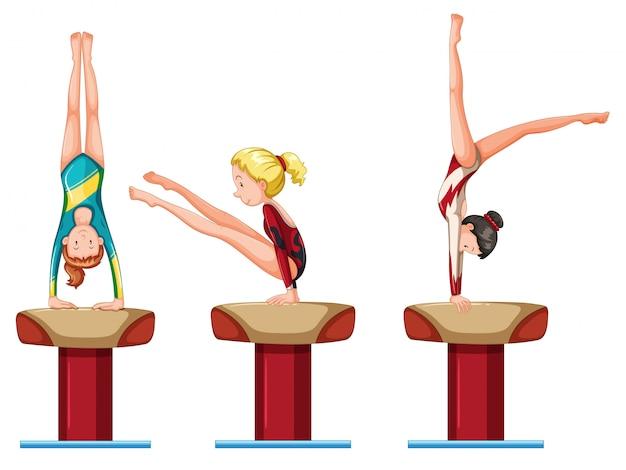 Set of female gymnastics athletes character Free Vector
