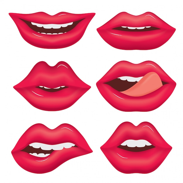 Set of female lips in various emotions. Premium Vector