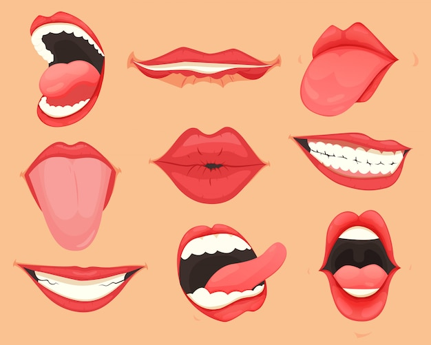 Set of female lips with various mouth emotions and expressions.  illustration. Premium Vector