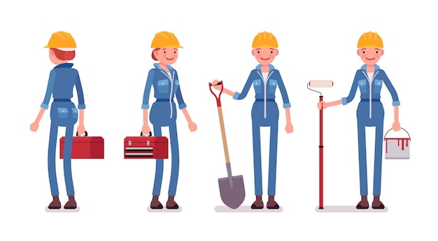 Set of female worker with tools, rear and front view Premium Vector