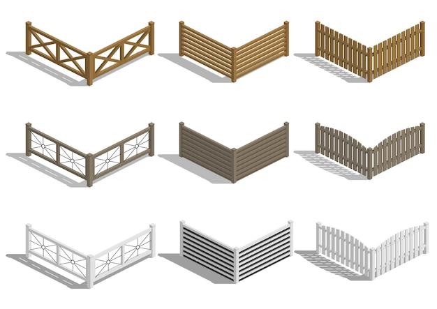 Set fence sections Premium Vector