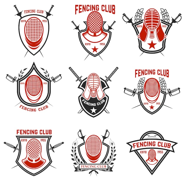Set of fencing club labels. fencing swords.  elements for emblem, sign, badge.  illustration Premium Vector