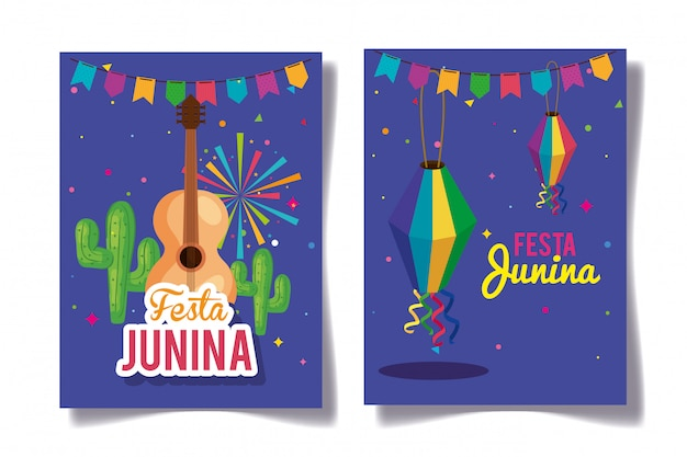 Set of festa junina greeting cards with decoration Premium Vector