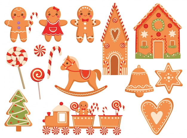 Set of festive gingerbread cookies. collection of christmas treats.   illustration. Premium Vector