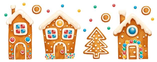Set of festive gingerbread houses Premium Vector