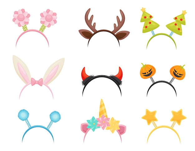 Set of festive hair hoops. cute head accessories for holiday parties. attributes of costumes Premium Vector