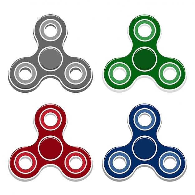 Set of fidget spinner toys. Premium Vector