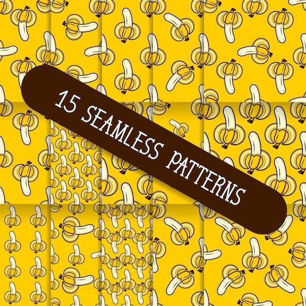 A set of fifteen seamless patterns Premium Vector