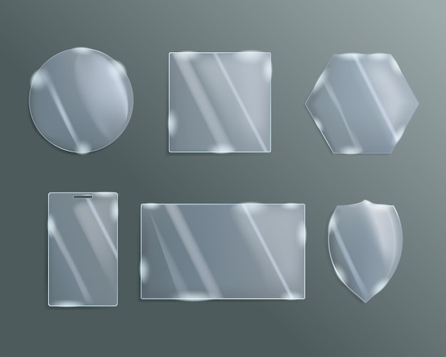 A set of figured glass of different shapes. Premium Vector