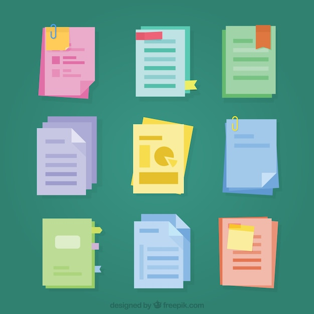 Set of files in flat design Free Vector