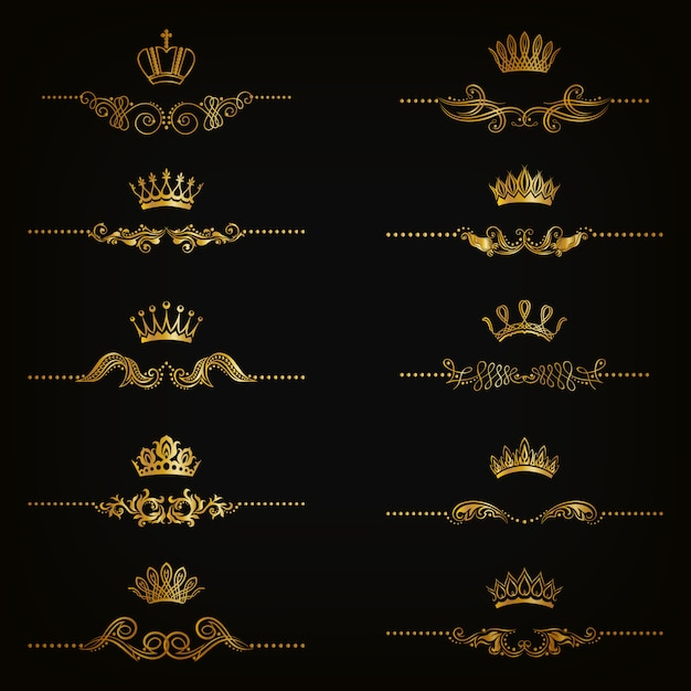 Set of filigree damask ornaments. floral golden elements, borders, dividers, frames, crowns Premium Vector