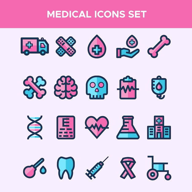 Set of filled line icons in medical theme Premium Vector