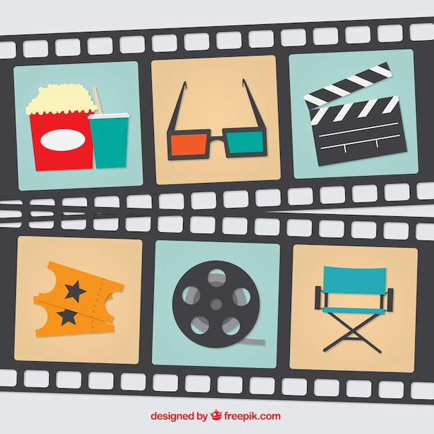 Set of film elements and frames Premium Vector
