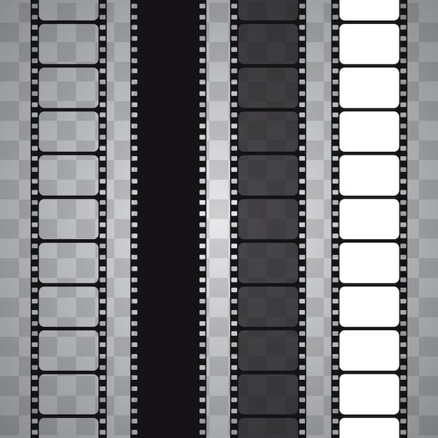 Set of  film strip isolated on transparent background Premium Vector