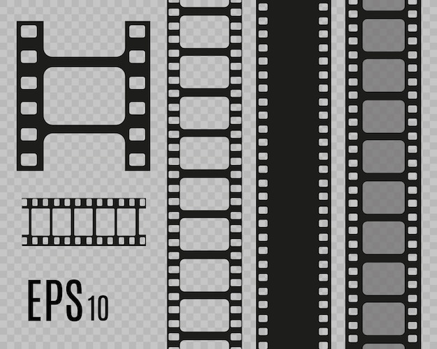 Set of film  stripes isolated on transparent background.film strip roll.  cinema background. Premium Vector