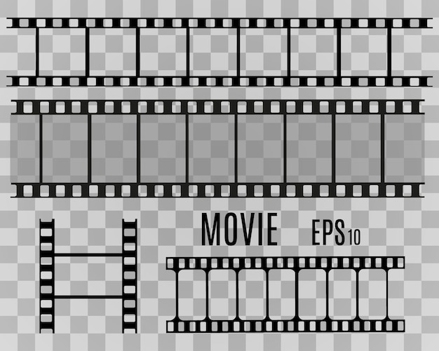 Set of film  stripes isolated on transparent background.film strip roll. vector cinema background. Premium Vector
