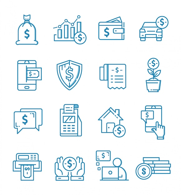 Set of finance icons with outline style Premium Vector