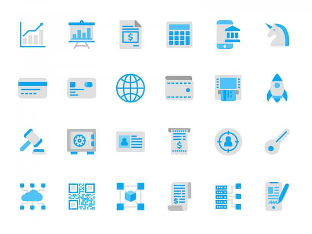 Set of financial technology icons in flat colors Premium Vector