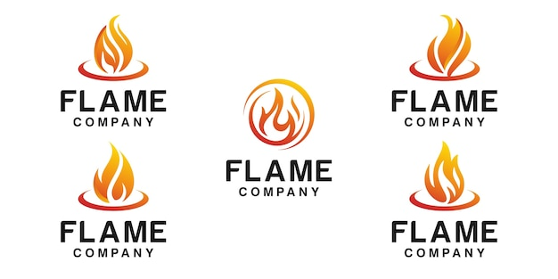 Set of fire flame logo isolated on white Premium Vector