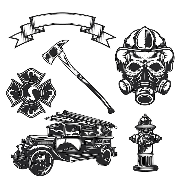 Set of firefighter elements (axe, car, ribbon, firefighter, emblem, fire truck, hydrant) Free Vector