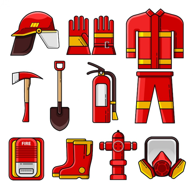 Set of firefighter safety gear icons and elements Premium Vector