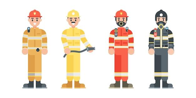 Set of fireman characters. firefighter wearing uniform and helmet in flat style. Premium Vector