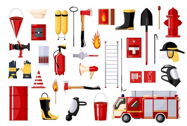 Set of fireman on white background. fire fighting vehicle and hydrant, helmet, hose, extinguisher, ladder, gas mask. flat style . Premium Vector