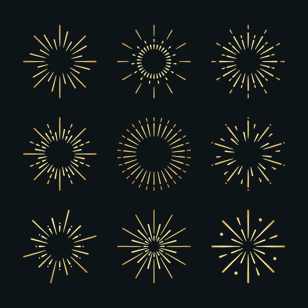 Set of firework explosion vectors Free Vector