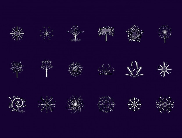 Set of fireworks scene icon set Premium Vector