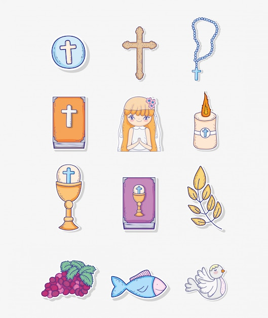 Set first communion decoration to traditional event Premium Vector