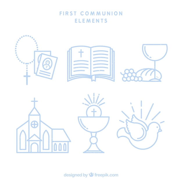 Set of first communion elements in linear style Free Vector