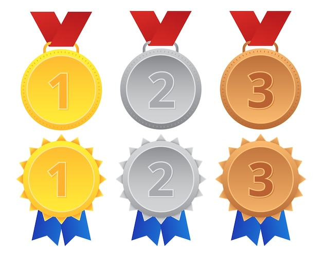 Set of first second third gold silver bronze medal Premium Vector