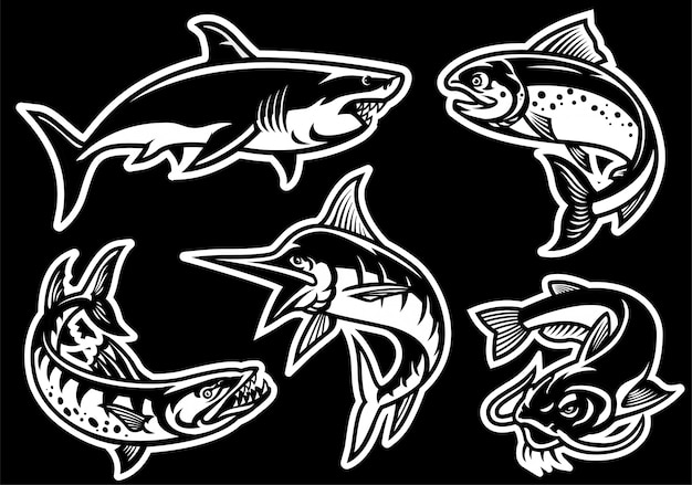 Set of fish collection in black and white style Premium Vector