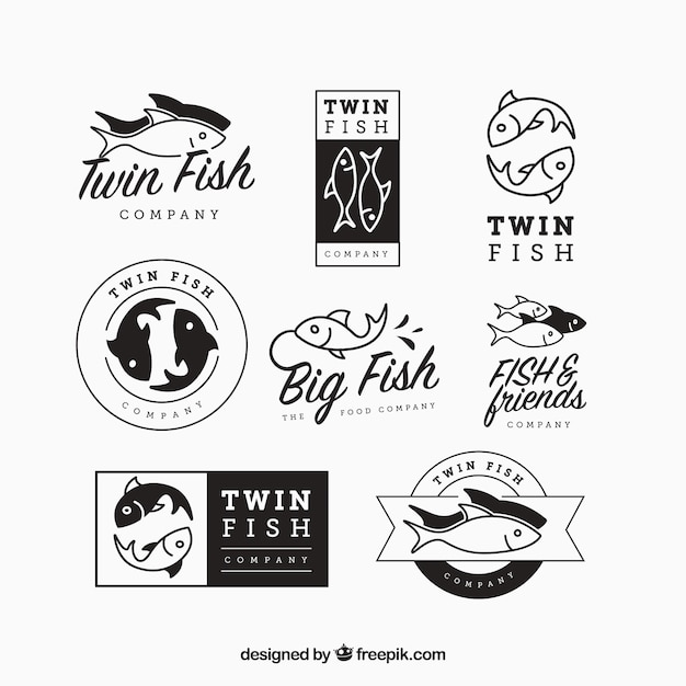 Set of fishes logos for companies Free Vector