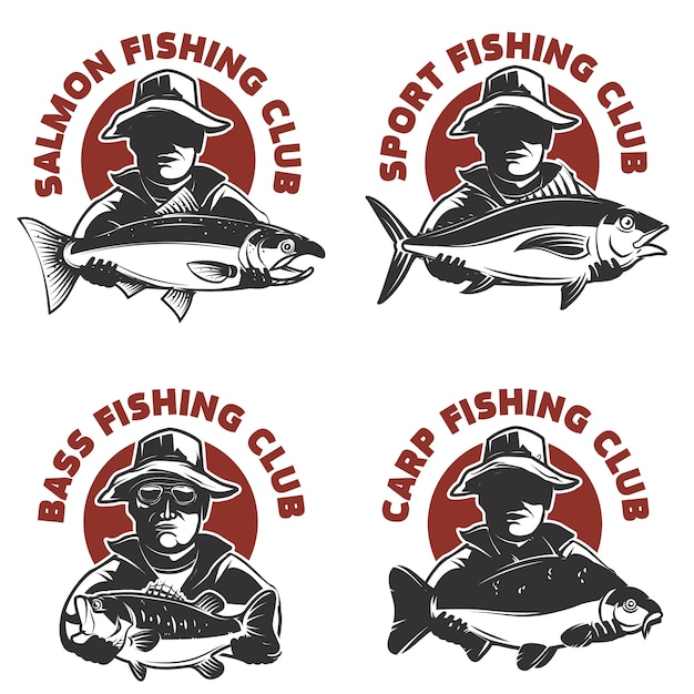 Set of fishing club labels templates. fisherman silhouette with fish.  elements for , emblem, sign, brand mark.  illustration. Premium Vector