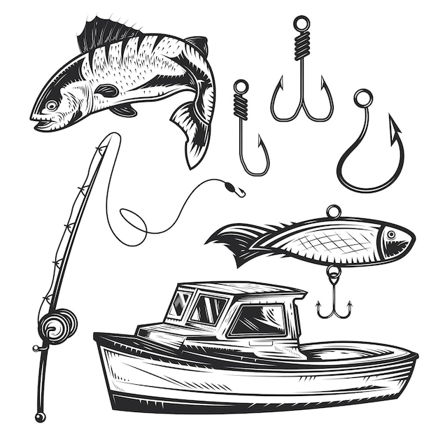 Set of fishing elements for creating your own badges, logos, labels, posters etc. Free Vector