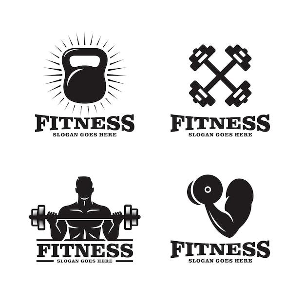 Set of fitness logo Premium Vector