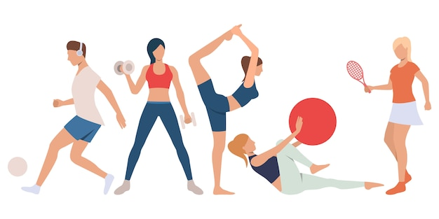 Set of fitness people at training Free Vector