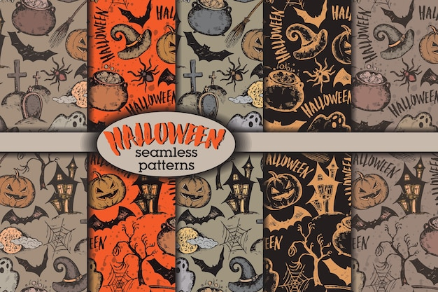 Set of five seamless patterns with sketch halloween characters witch hat Premium Vector