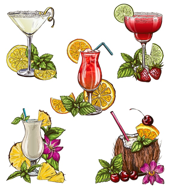 Set of five summer cocktails Premium Vector