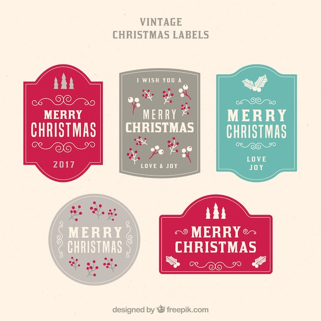 Set of five vintage merry christmas stickers Free Vector