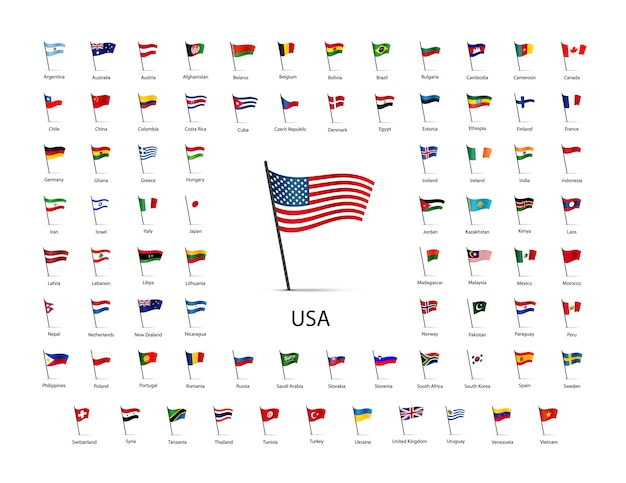 Set of flags on a pole with shadow isolated Premium Vector