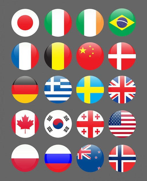 Set of flags rounded pin icon Premium Vector
