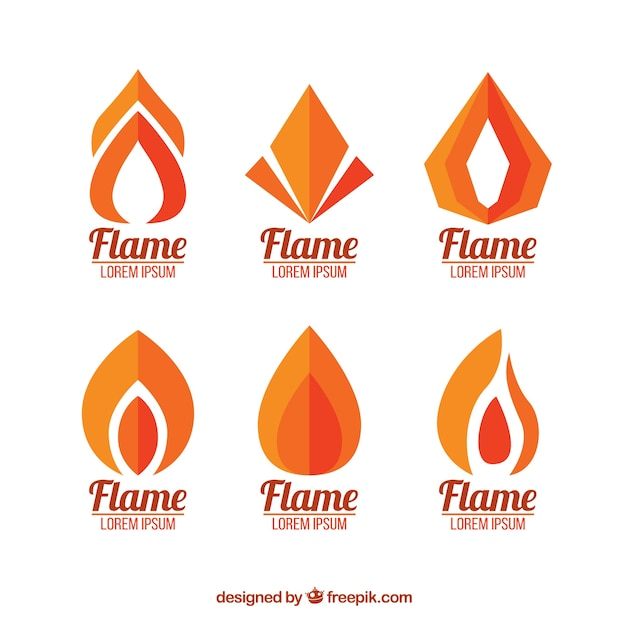 Set of flame logos in flat design Free Vector