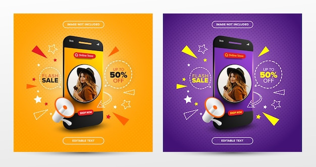 Set of flash sale online shopping promotion on social media post Premium Vector
