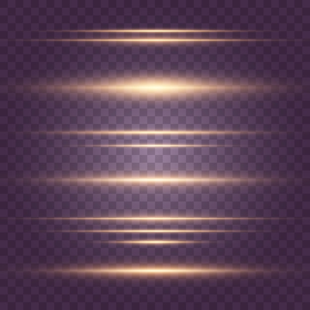 Set of flashes, lights, sparkles on transparent background. bright gold  glares. abstract golden lights isolated. yellow horizontal lens flares pack. laser beams, horizontal light rays, lines. Premium Vector