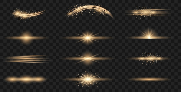 Set of flashes, lights and sparks. Premium Vector